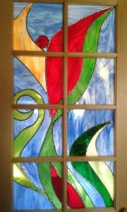 Bad-Tür mit Sprossenteilung und Tiffany-Verglasung
